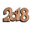 2018 new year wooden figures vector image