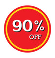 90 off discount price tag isolated