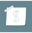Adhesive Notes with scotch and dollar sign vector image