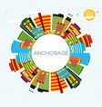 anchorage skyline with color buildings blue sky vector image vector image