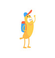 banana schoolboy with backpack cartoon funny vector image vector image