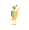 banana schoolboy with backpack cartoon funny vector image vector image