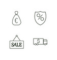 banking outline icons set vector image