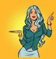 beautiful woman presents gesture vector image vector image