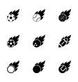 black file sport balls icon set vector image vector image
