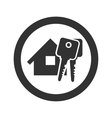 Black home with key icon vector image vector image