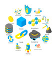 blockchain crypto money icons set isometric style vector image