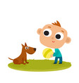 boy playing with dog cartoon vector image vector image