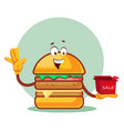 burger is holding a sale box on white background vector image vector image