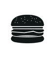 Burger simple black icon on white background vector image