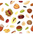 cartoon dry nut and seed mix seamless pattern vector image
