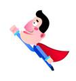 cartoon super hero man with cloak flying vector image vector image