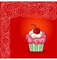 cartoon sweet cupcake and doodle boho pattern vector image vector image