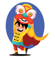 chinese kid wearing monster costume for chinese vector image