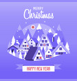 christmas card with snow village vector image vector image
