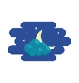 Cloud crescent and stars icon cartoon style vector image