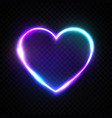 color bright heart electric neon sign retro frame vector image vector image