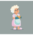 Cute Granny in glasses holding pie Funny cartoon vector image