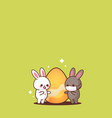 cute rabbits near egg wearing face mask to prevent vector image vector image