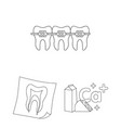 dental care outline icons in set collection for vector image
