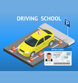 design concept driving school or learning to drive vector image vector image