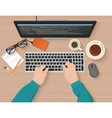 Developer working at computer Programmer hands vector image vector image
