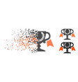 dispersed dotted halftone award cup icon vector image vector image