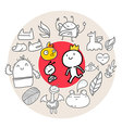 Doodle Circle Red vector image vector image