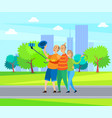 elderly man and woman friends in urban park vector image vector image