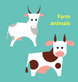 farm animals cow and goat vector image vector image
