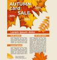 flyer with autumn offer discounts vector image vector image