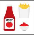 french fries potatoe fries bottle tomato vector image