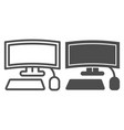 gaming curved display line and glyph icon vector image vector image