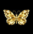 gold polygonal butterfly vector image
