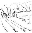 hand made sketch village landscape fields vector image