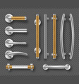 handles for doors or windows metal wooden details vector image