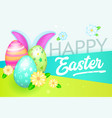 happy easter banner with eggs and rabbit greeting vector image