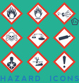 Hazard Icons 9 1 package symbols Red border vector image