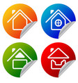 house icons on colorful sticker home summer house vector image