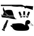 hunting set duck hunting shotgun duck vector image