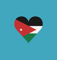 jordan flag icon in a heart shape in flat design vector image vector image