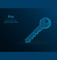 key low poly door key icon on blue background vector image vector image
