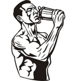 Man drinking water from a shaker vector image vector image