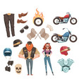 motorcycle rider elements collection vector image vector image