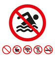 no swimming sign on white background vector image vector image