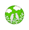 paper bird on a green background vector image