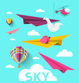 paper planes with hot air balloons origami birds vector image vector image