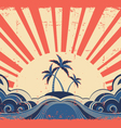 Paradise island on grunge background vector image vector image
