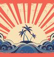 Paradise island on grunge background vector image