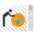 person roll nem coin flat icon with bonus vector image vector image